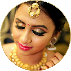 closeup of a beautiful south indian bride with airbrush makeup
