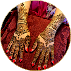 Mehandi design on bride's hands by skulpt bridal makeup artist