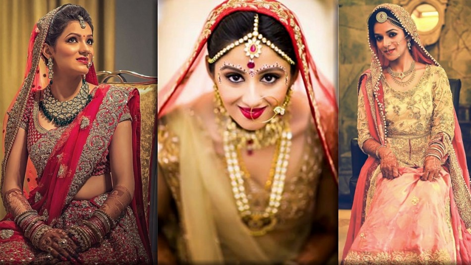 photo collage of 3 brides in north indian bridal makeup done by wedding makeup artist chennai