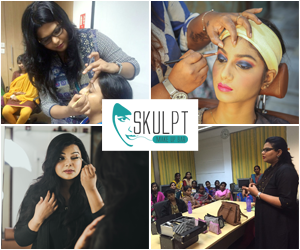 four photos as a collage showing various personal makeup classes and workshops conducted by vidhu, skulpt