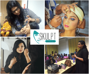 four photos as a collage showing various makeup classes and workshops conducted by vidhu, skulpt