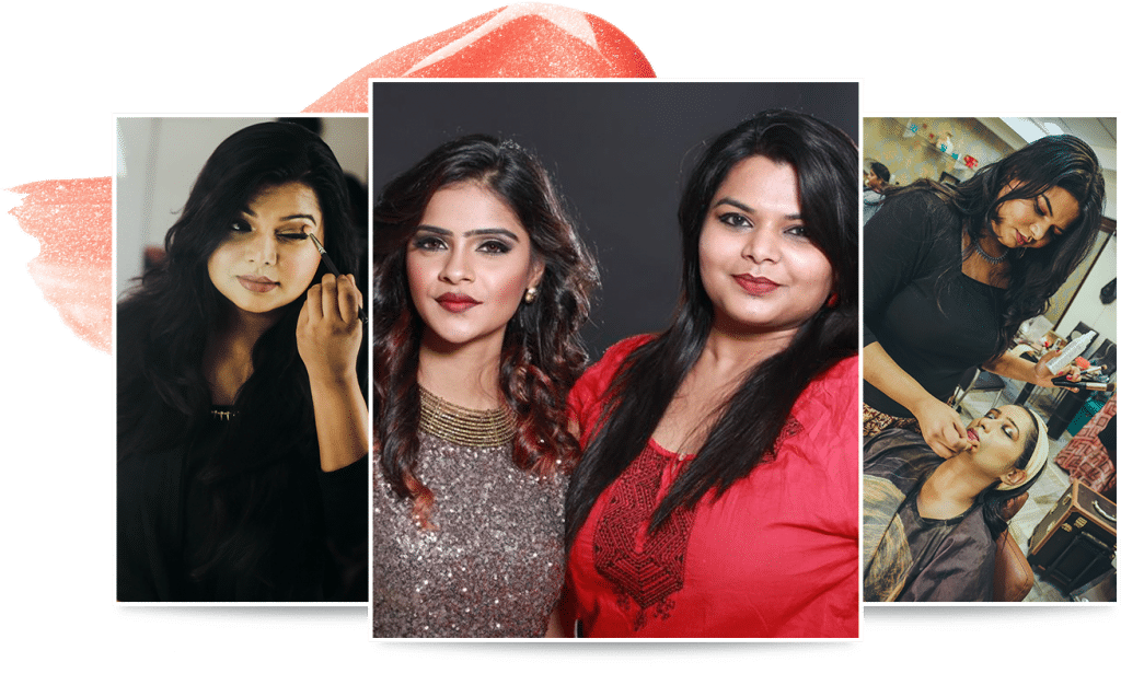 Three photos as a collage showing Vidhu, a model who takes up makeup and another model with a completed makeup